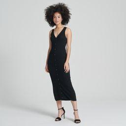 Summer Silk Midi Dress in Black   Naadam