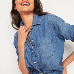 Oversized Boyfriend Tunic Jean Shirt for Women   Old Navy (US)