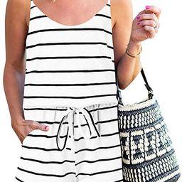 ANRABESS Women Summer Loose Solid Sleeveless Jumpsuit Rompers Spaghetti Strap Adjustable Waist Sh... | Amazon (US)