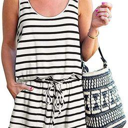KIRUNDO 2021 Women's Casual Striped Sleeveless Jumpsuit Crewneck Tie Waist Tank Top Short Rompe... | Amazon (US)