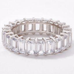 Diamonique Emerald-Cut Eternity Band Ring, Platinum Clad | QVC