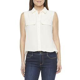 Worthington Womens Sleeveless Regular Fit Button-Down Shirt | JCPenney