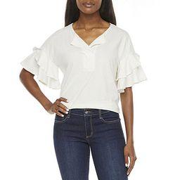 Worthington Womens Split Crew Neck Ruffle Sleeve T-Shirt | JCPenney