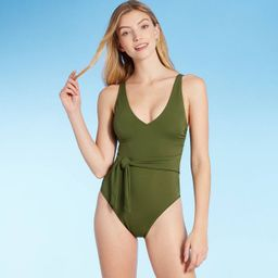 Women's Plunge Tie-Front Wrap One Piece Swimsuit - Shade & Shore™ Palm Green | Target