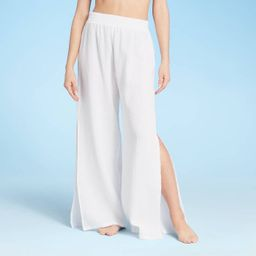 Women's Smocked Waist Cover Up Pants - Shade & Shore™ White | Target