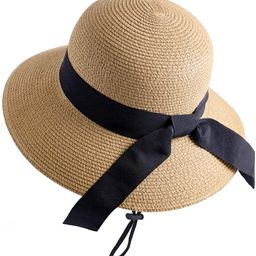 FURTALK Womens Beach Sun Straw Hat UV UPF50 Travel Foldable Brim Summer UV Hat | Amazon (US)