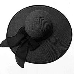 Lanzom Womens 5.5 Inches Big Bowknot Straw Hat Large Floppy Foldable Roll up Beach Cap Sun Hat UP... | Amazon (US)