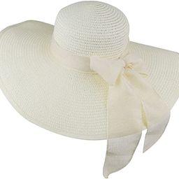 DRESHOW Womens Bowknot Straw Hat Foldable Beach Sun Hat Roll up UPF 50+ | Amazon (US)
