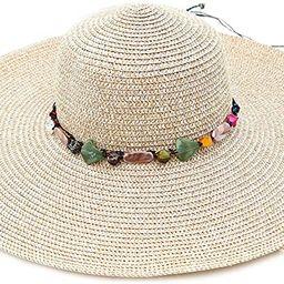 Adrinfly Women Foldable Floppy Wide Brim Straw Sun Hat Travel Packable Adjustable Summer Beach Ac... | Amazon (US)