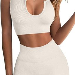 FAFOFA Workout Outfits for Women 2 Piece Ribbed Seamless Crop Tank High Waist Yoga Leggings Sets   Amazon (US)