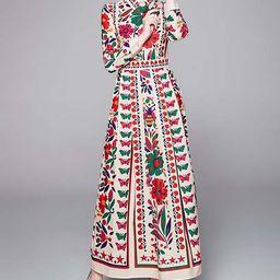Kaimilan Women's Maxi Dresses Beige - Beige & Red Butterfly Floral Maxi Shirt Dress   Zulily