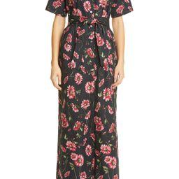 Women's Adam Lippes Floral Print Poplin Maxi Shirtdress, Size 8 - Black   Nordstrom