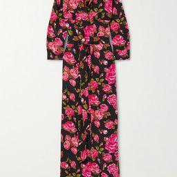 L'Agence - Cameron Belted Floral-print Silk Crepe De Chine Maxi Shirt Dress - Black   Net-a-Porter (US)