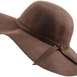 Urban CoCo Women's Foldable Wide Brim Felt Bowler Fedora Floopy Wool Hat | Amazon (US)