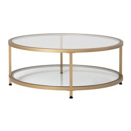 Carbon Loft Heimlich Pewter Steel/Glass Round Coffee Table - Gold | Overstock
