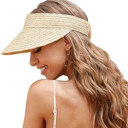 Visors for Women, Sun Hats for Women Sun Visors for Women, Beach Straw Visors Hats Made of Natura... | Amazon (US)