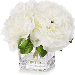Enova Home Silk Peony Flowers Arrangements in Cube Glass Vase with Faux Water for Home Table Wedd...   Amazon (US)