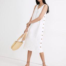 Linen-Cotton Side-Button Midi Dress   Madewell