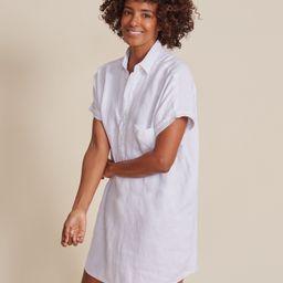 The Artist Short Sleeve Dress White, Tumbled Linen   Grayson