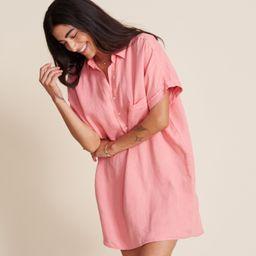 The Artist Short Sleeve Dress Hibiscus, Tumbled Linen   Grayson