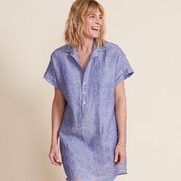 The Artist Short Sleeve Dress Dark Blue, Tumbled Linen   Grayson