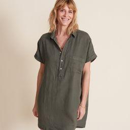 The Artist Short Sleeve Dress Army Green, Tumbled Linen   Grayson