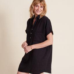 The Artist Short Sleeve Dress Black, Tumbled Linen   Grayson