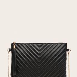 Tassel Charm Chevron Clutch Bag   SHEIN