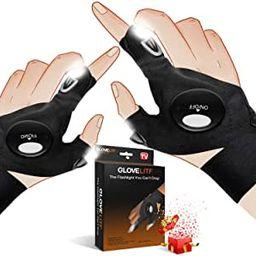 NVJJ Flashlight Gloves Gadgets Gifts for Dad Men, Fingerless LED Light Fishing Gloves for Repairi... | Amazon (US)