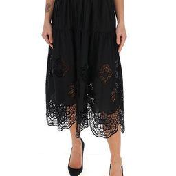 See By Chloé Broderie Anglaise High Waisted Skirt | Cettire Global