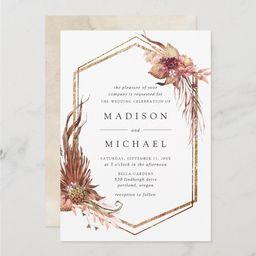 Boho Desert Floral Geometric Wedding Invitation   Zazzle