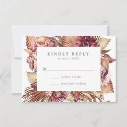 Boho Desert Floral Wedding RSVP Card   Zazzle