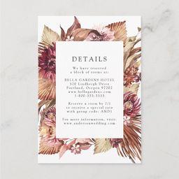 Boho Desert Floral Wedding Details Enclosure Card   Zazzle