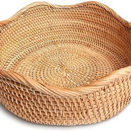 HITOMEN Handmade Round Rattan Basket Lacy Wicher Serving Bowl for Bread, Snack, Fruit, Vegetable ...   Amazon (US)