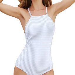 Women's White Blue Striped Halter Neck Bikini,Switch Back Bandage One Piece Swimsuit | Amazon (US)