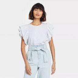 Women's Ruffle Short Sleeve Linen Top - A New Day™ | Target