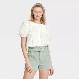 Women's Striped Puff Short Sleeve Button-Down Shirt - Universal Thread™ | Target