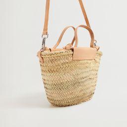Leather handmade basket bag   MANGO (US)