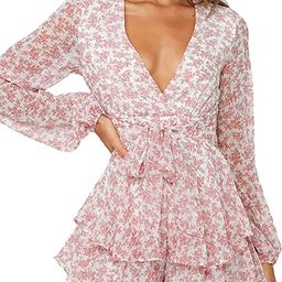 Relipop Women's Polka Dot Jumpsuits Deep V-Neck Long Sleeve Knot Front Ruffle Hem Floral Rompers | Amazon (US)