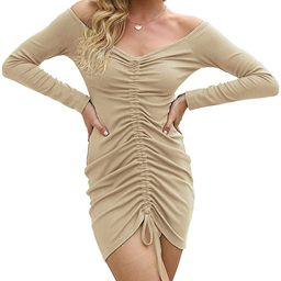 PRETTYGARDEN Women's Sexy Ruched Bodycon Dress Long Sleeve Deep V-Neck Off-Shoulder Mini Party Dr...   Amazon (US)