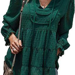 PRETTYGARDEN Lantern Long Sleeve Shirt Ruffle V Neck Tops for Women Chiffon Blouse Swiss Dot Pom ...   Amazon (US)