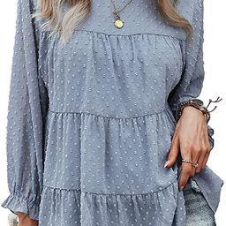 PRETTYGARDENWomen's Summer Loose ChiffonBlouse Mesh Long Sleeve Casual Round Neck Peplum To...   Amazon (US)