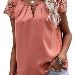 Romwe Women's Lace Short Sleeve Keyhole Neck Solid Work Blouses Shirts Tops   Amazon (US)