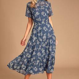 Floral Dressed Up Dusty Blue Floral Print Midi Dress   Lulus (US)