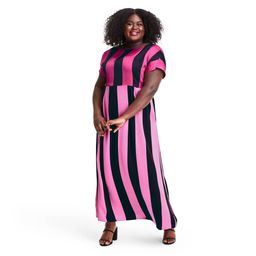 Plus Size Mixed Stripe Short Sleeve Dress - Christopher John Rogers for Target Pink/Black 28W/30W | Target