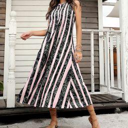 Reborn Collection Women's Maxi Dresses Light - Light Pink & Black Floral Stripe Sleeveless Pin Tuck  | Zulily