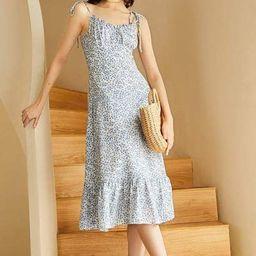 Liza Blue Ruffled-Hem Midi Dress | J.ING