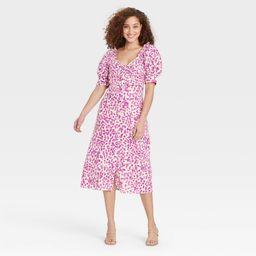 Women's Puff Short Sleeve Empire Waist Dress - Who What Wear Cream Leopard Print M, Ivory   Target