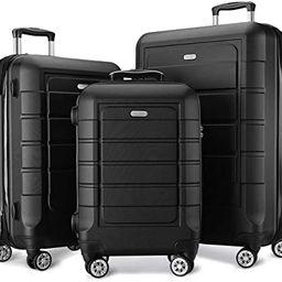 SHOWKOO Luggage Sets Expandable PC+ABS Durable Suitcase Double Wheels TSA Lock Black 3pcs | Amazon (US)