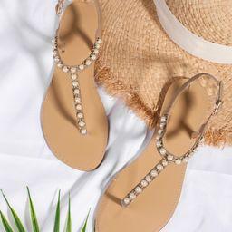 Faux Pearl Decor Flat Thong Sandals | SHEIN